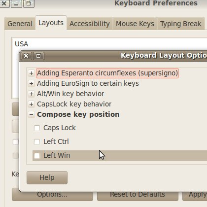 Keyboard Preferences: compose key