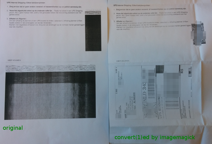 a photo of the printer output of input.pdf andoutput.pdf
